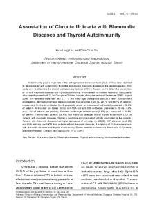 Association of Chronic Urticaria with Rheumatic Diseases and Thyroid Autoimmunity