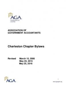 ASSOCIATION OF GOVERNMENT ACCOUNTANTS. Charleston Chapter Bylaws