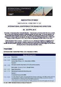 ASSOCIATION OF MBAS INTERNATIONAL CONFERENCE FOR DEANS AND DIRECTORS APRIL 2014