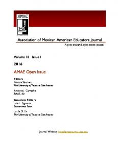 Association of Mexican American Educators Journal