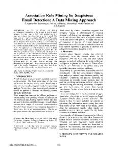 Association Rule Mining for Suspicious  Detection: A Data Mining Approach