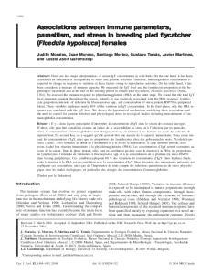 Associations between immune parameters, parasitism, and stress in breeding pied flycatcher (Ficedula hypoleuca) females