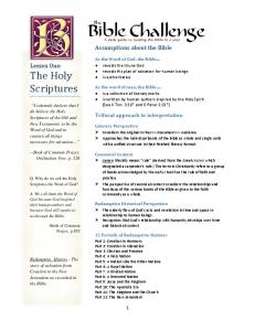 Assumptions about the Bible