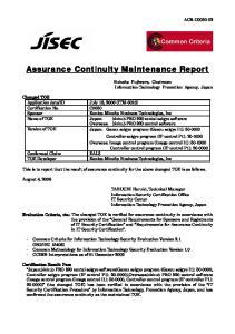 Assurance Continuity Maintenance Report