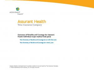 Assurant Health. Time Insurance Company. Summary of Benefits and Coverage for Assurant Health individual major medical Gold plans