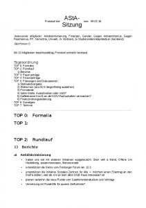 AStA- Sitzung. TOP 0: Formalia TOP 1: TOP 2: Rundlauf