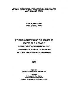 ASTHMA AND COPD. PEH HONG YONG (B.Sc. (Hons.), NUS)