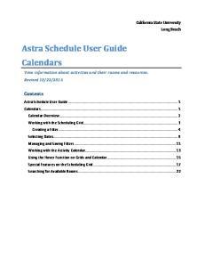 Astra Schedule User Guide Calendars