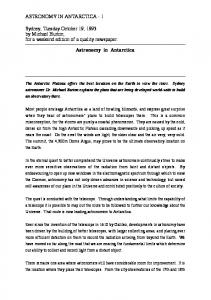 Astronomy in Antarctica