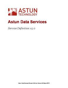 Astun Data Services. Service Definition v5.0