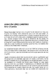 ASUNCION LOPEZ CARRETERO Amor al sentido