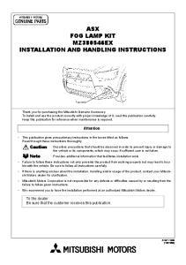 ASX FOG LAMP KIT MZ380546EX INSTALLATION AND HANDLING INSTRUCTIONS