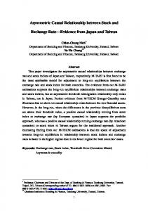 Asymmetric Causal Relationship between Stock and. Exchange Rate Evidence from Japan and Taiwan