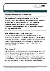 Asymptomatic retinal detachment