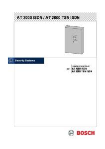 AT 2000 TSN ISDN. Installationshandbuch AT 2000 ISDN AT 2000 TSN ISDN