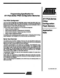 AT17F(A) Series FPGA Configuration Flash Memory. Application Note. Programming Specification for AT17F(A) Series FPGA Configuration Memories