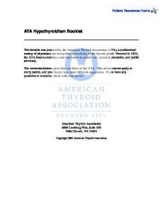 ATA Hypothyroidism Booklet