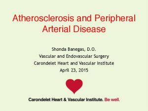 Atherosclerosis and Peripheral Arterial Disease