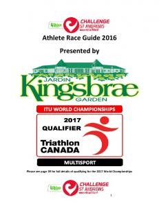 Athlete Race Guide 2016 Presented by