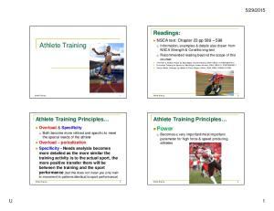 Athlete Training. Readings: Athlete Training Principles