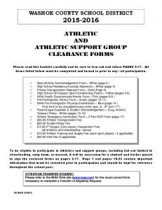 ATHLETIC AND ATHLETIC SUPPORT GROUP CLEARANCE FORMS