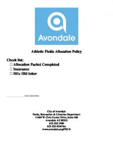 Athletic Fields Allocation Policy