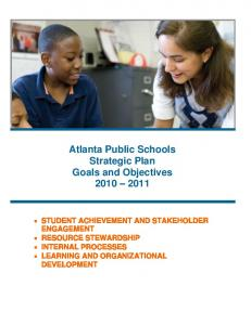 Atlanta Public Schools Strategic Plan Goals and Objectives