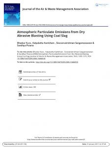 Atmospheric Particulate Emissions from Dry Abrasive Blasting Using Coal Slag
