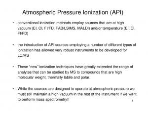 Atmospheric Pressure Ionization (API)