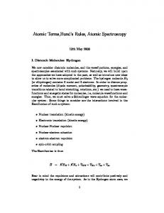 Atomic Terms,Hund s Rules, Atomic Spectroscopy