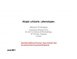 Atopic urticaria : phenotypes