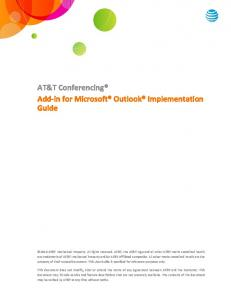 AT&T Conferencing Add-in for Microsoft Outlook Implementation Guide