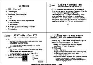 AT&T s NextGen TTS  Contents. AT&T s NextGen TTS