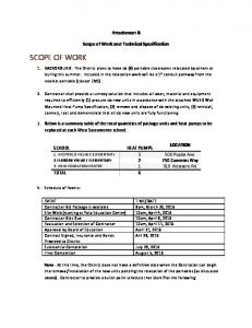 Attachment B. Scope of Work and Technical Specification
