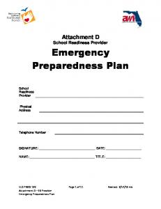 Attachment D School Readiness Provider Emergency Preparedness Plan
