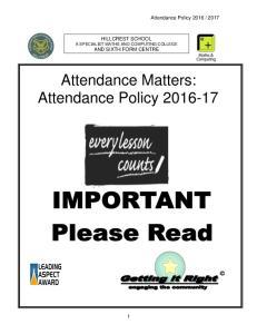 Attendance Matters: Attendance Policy