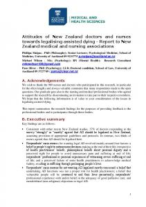 Attitudes of New Zealand doctors and nurses towards legalising assisted dying - Report to New Zealand medical and nursing associations