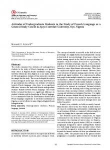 Attitudes of Undergraduate Students to the Study of French Language as a General Study Course in Ajayi Crowther University, Oyo, Nigeria