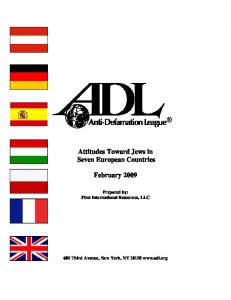 Attitudes Toward Jews in Seven European Countries. February 2009
