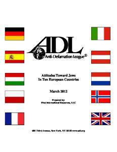 Attitudes Toward Jews In Ten European Countries