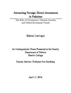 Attracting Foreign Direct Investment in Pakistan. Sakina Lavingia