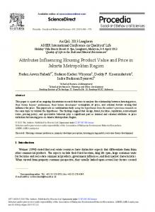 Attributes Influencing Housing Product Value and Price in Jakarta Metropolitan Region