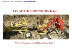 ATV IMPLEMENTS YOU CAN MAKE
