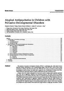 Atypical Antipsychotics in Children with Pervasive Developmental Disorders