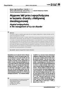 Atypowe leki przeciwpsychotyczne w leczeniu choroby afektywnej dwubiegunowej