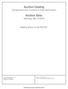 Auction Catalog. Auction Date: