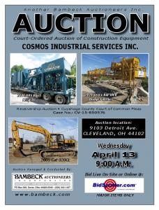 AUCTION Court-Ordered Auction of Construction Equipment