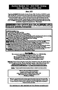 Auction Number AUCTION Closing Date: Monday, 13 June, 2010