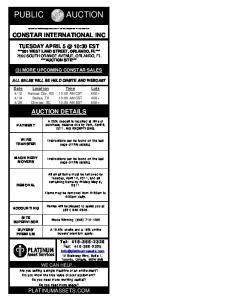 AUCTION PUBLIC CONSTAR INTERNATIONAL INC AUCTION DETAILS