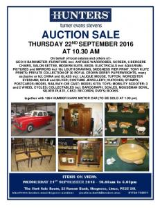 AUCTION SALE THURSDAY 22 ND SEPTEMBER 2016 AT AM